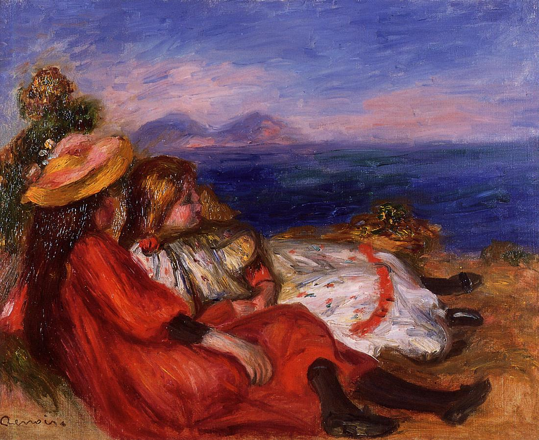 Two Little Girls on the Beach 1895 | Pierre Auguste Renoir | Oil Painting