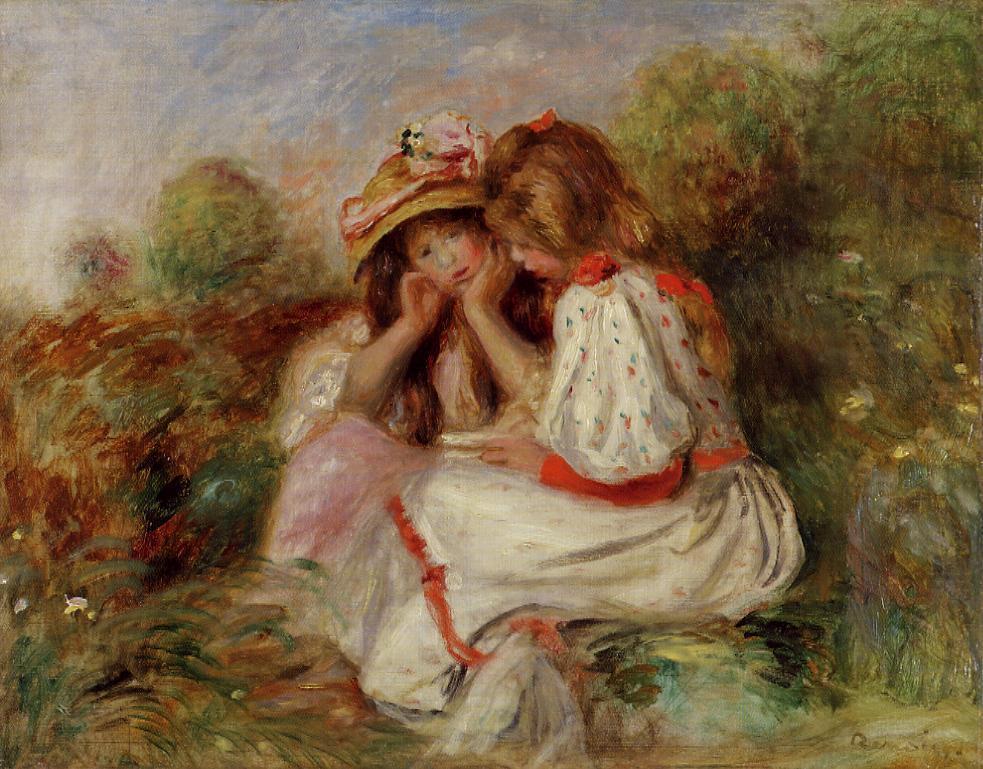 Two Little Girls 1890   Pierre Auguste Renoir   Oil Painting