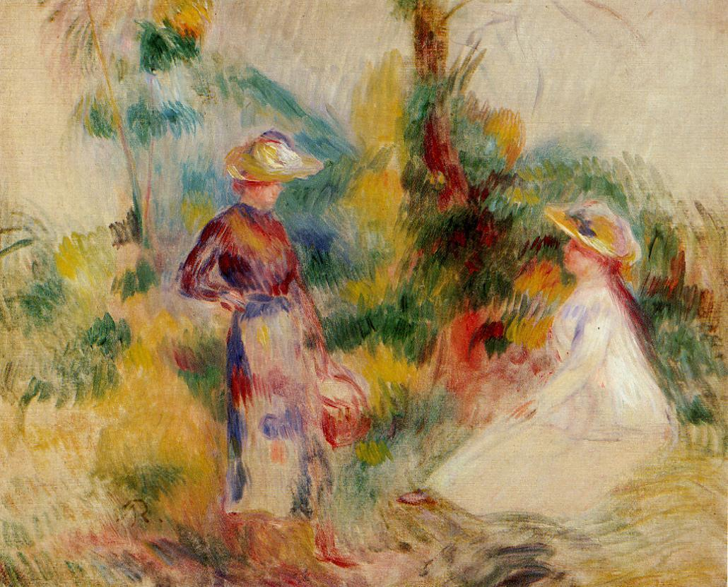 Two Women in a Garden 1906   Pierre Auguste Renoir   Oil Painting