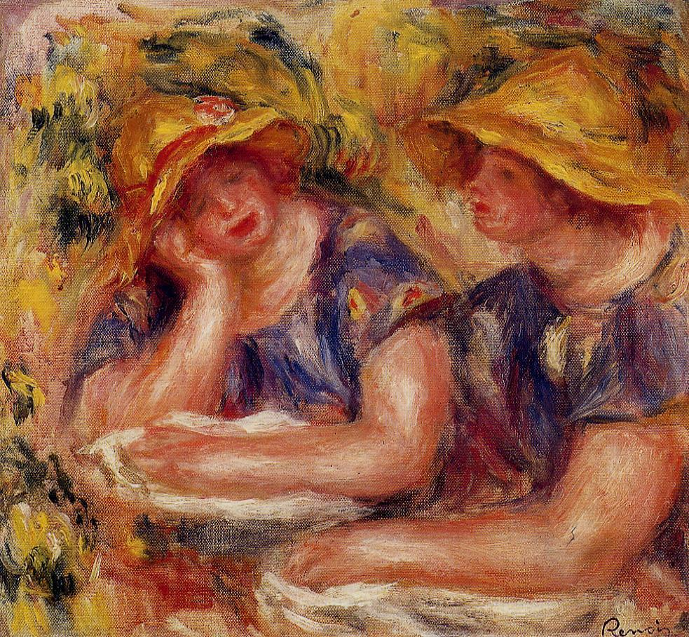Two Women in Blue Blouses 1919   Pierre Auguste Renoir   Oil Painting