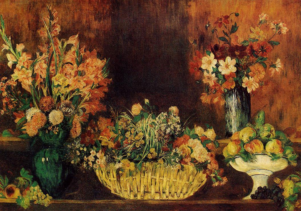 Vase Basket of Flowers and Fruit 1889-1890 | Pierre Auguste Renoir | Oil Painting