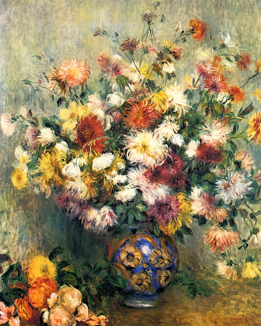 Vase of Chrysanthemums 1880-1882 | Pierre Auguste Renoir | Oil Painting