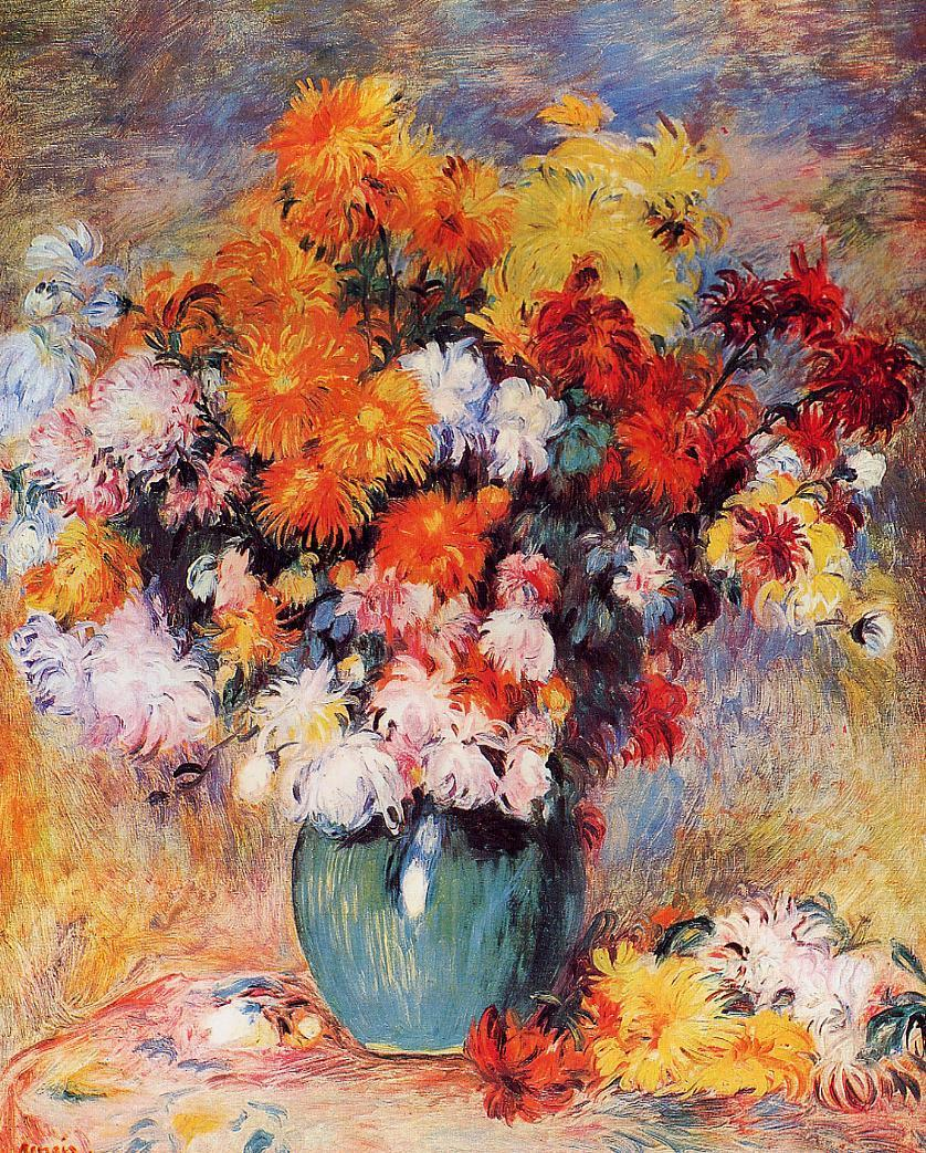Vase of Chrysanthemums 1890 | Pierre Auguste Renoir | Oil Painting