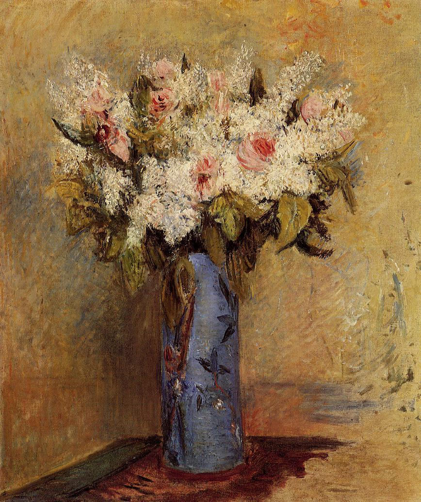 Vase of Lilacs and Roses 1870 | Pierre Auguste Renoir | Oil Painting