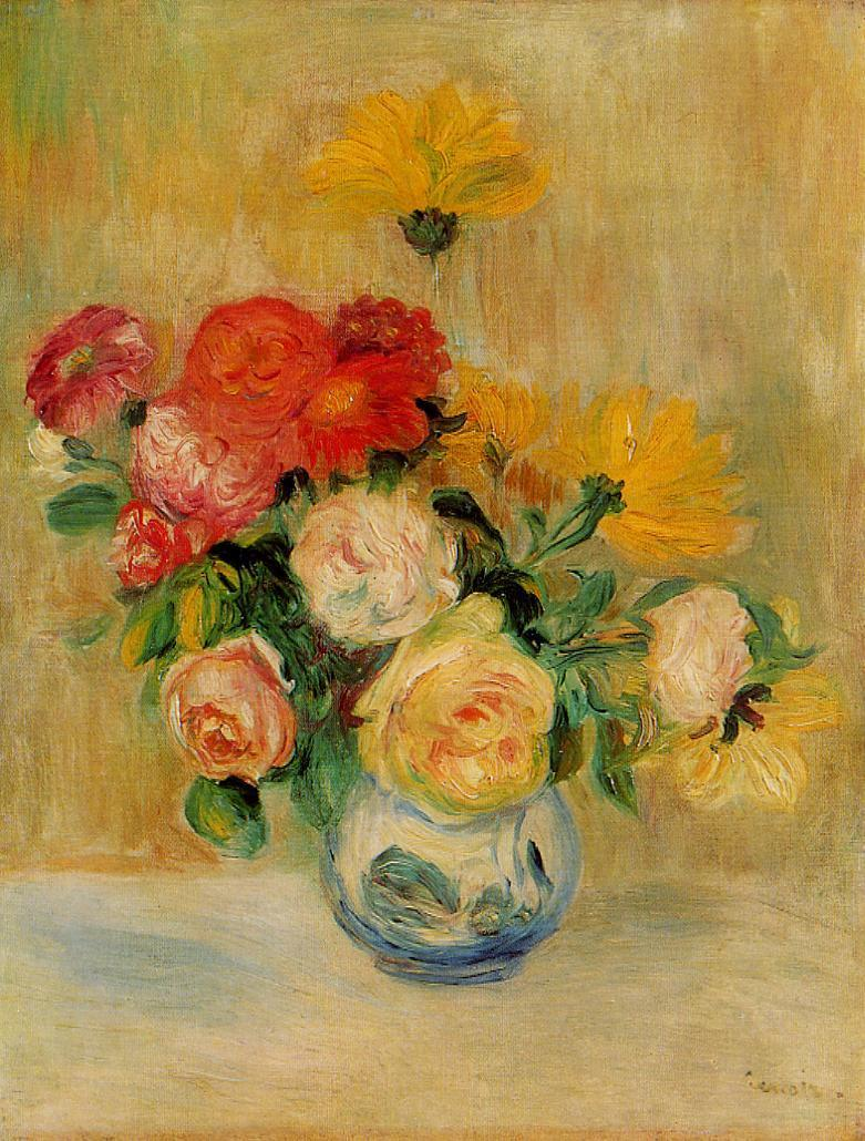 Vase of Roses and Dahlias 1883-1884 | Pierre Auguste Renoir | Oil Painting