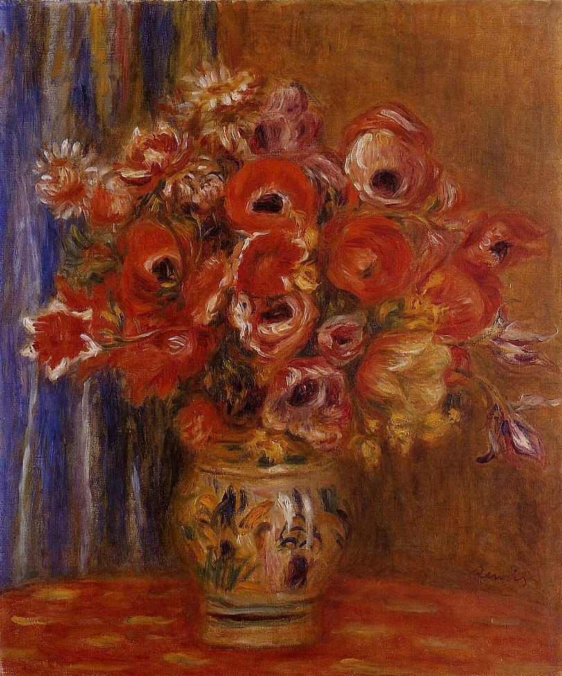 Vase of Tulips and Anemones | Pierre Auguste Renoir | Oil Painting