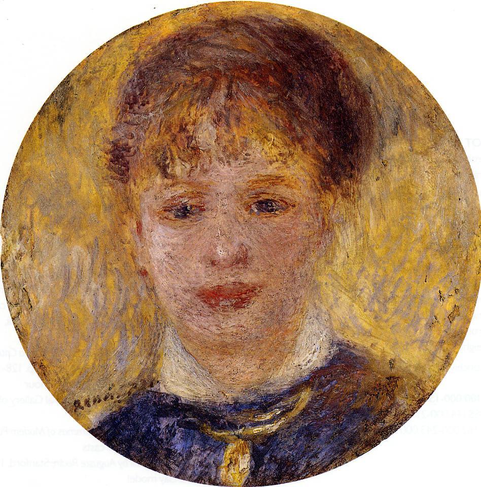 Womans Head 1877   Pierre Auguste Renoir   Oil Painting