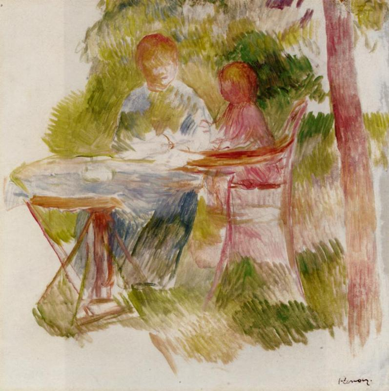 Woman and Child in a Garden (sketch) 1880 | Pierre Auguste Renoir | Oil Painting