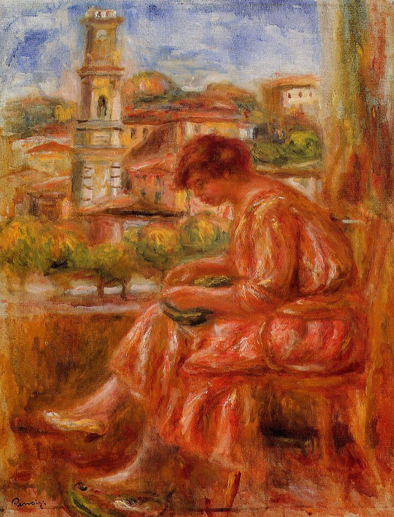 Woman at the Window with a View of Nice 1918 | Pierre Auguste Renoir | Oil Painting