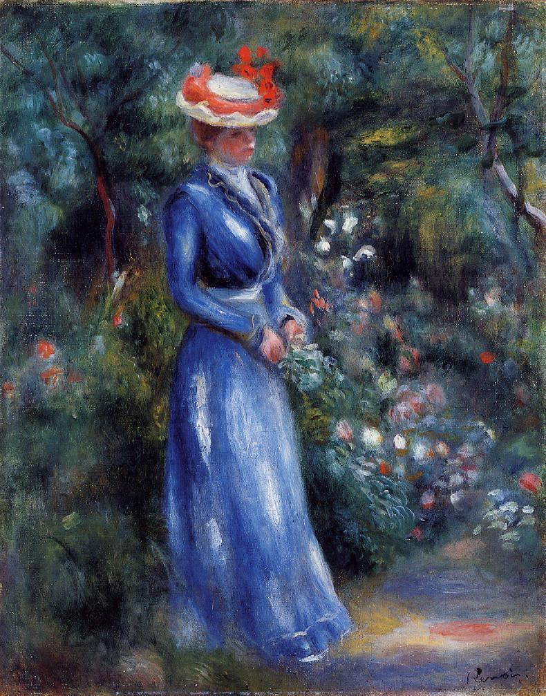 Woman in a Blue Dress Standing in the Garden of Saint-Cloud 1899 | Pierre Auguste Renoir | Oil Painting