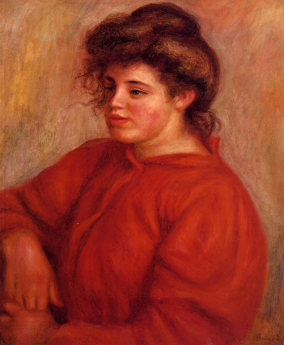 Woman in a Red Blouse 1908 | Pierre Auguste Renoir | Oil Painting