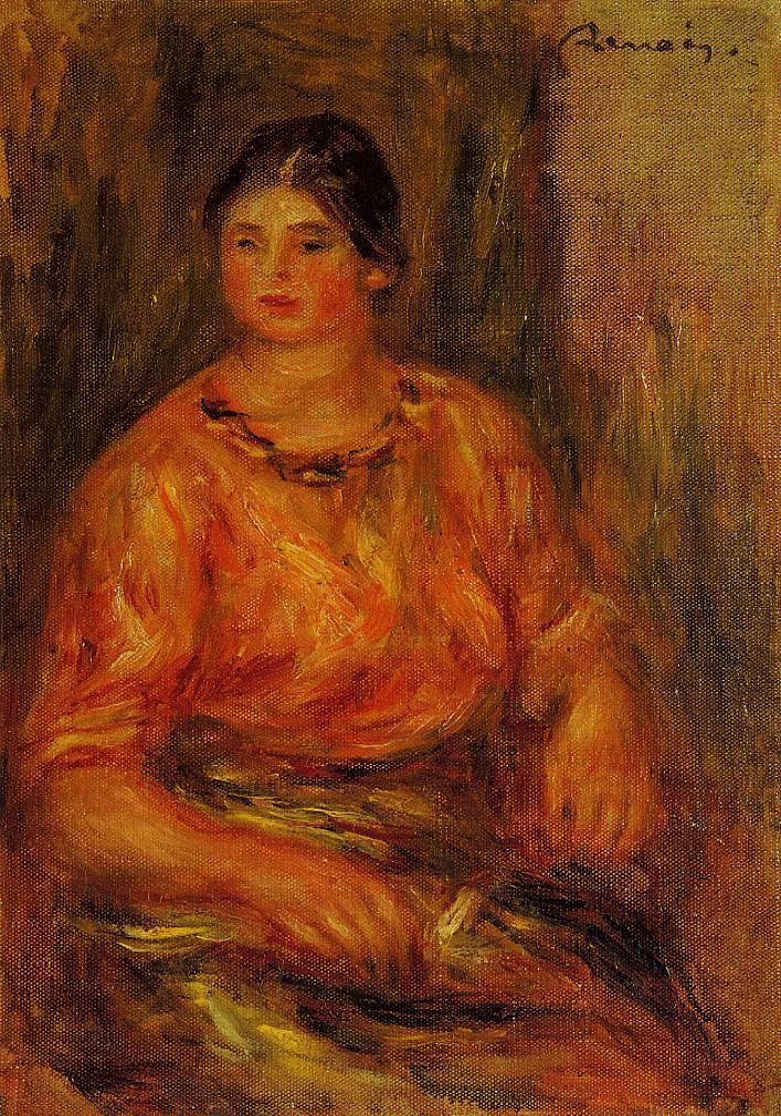 Woman in a Red Blouse 1914   Pierre Auguste Renoir   Oil Painting