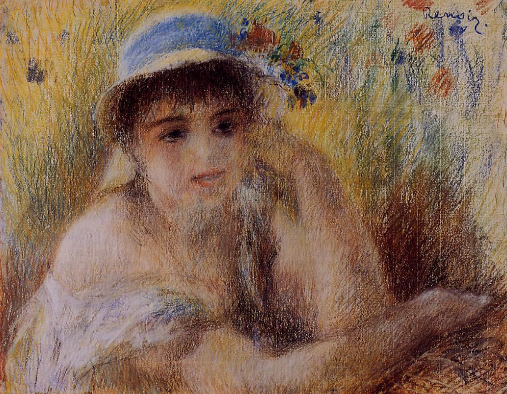 Woman in a Straw Hat 1880 | Pierre Auguste Renoir | Oil Painting