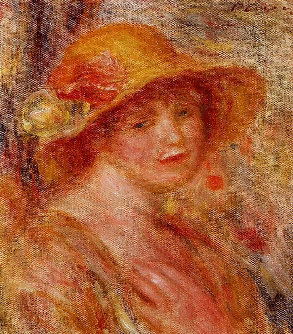 Woman in a Straw Hat 1916-1918 | Pierre Auguste Renoir | Oil Painting