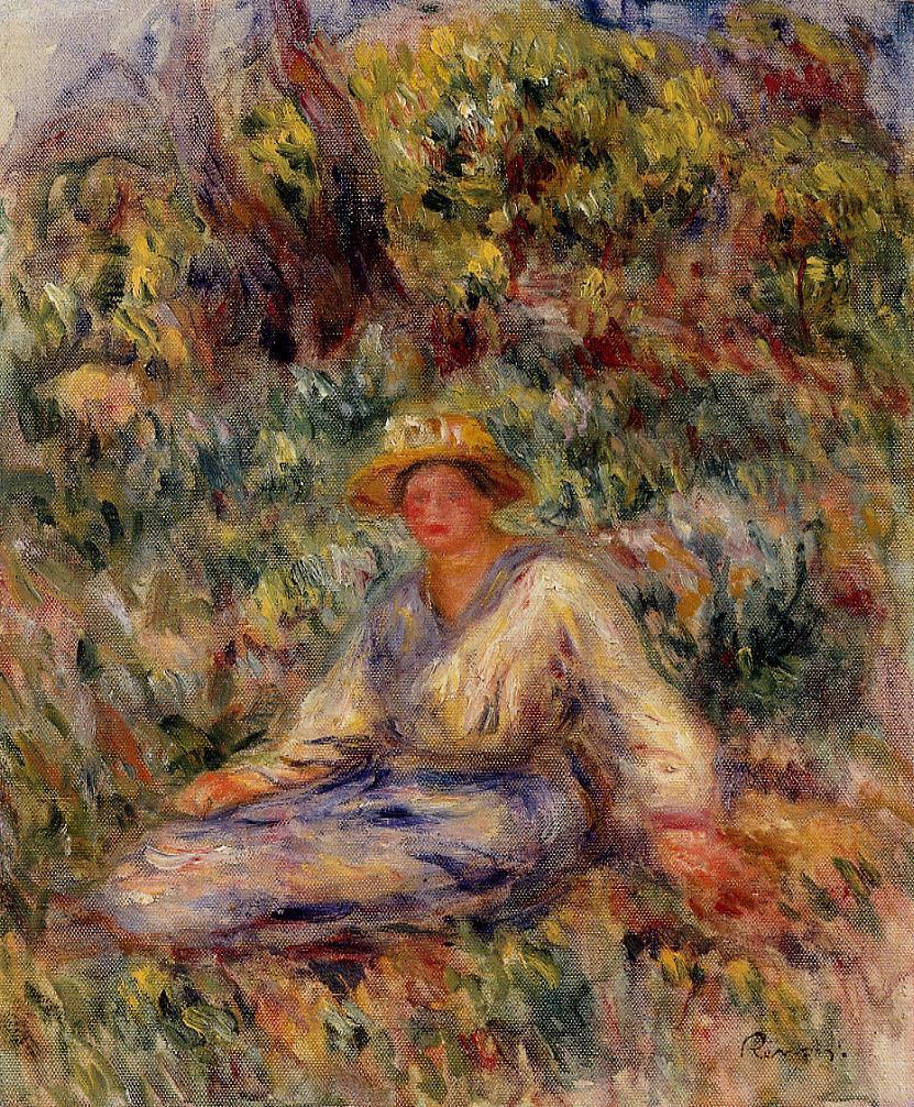 Woman in Blue in a Landscape 1916 | Pierre Auguste Renoir | Oil Painting