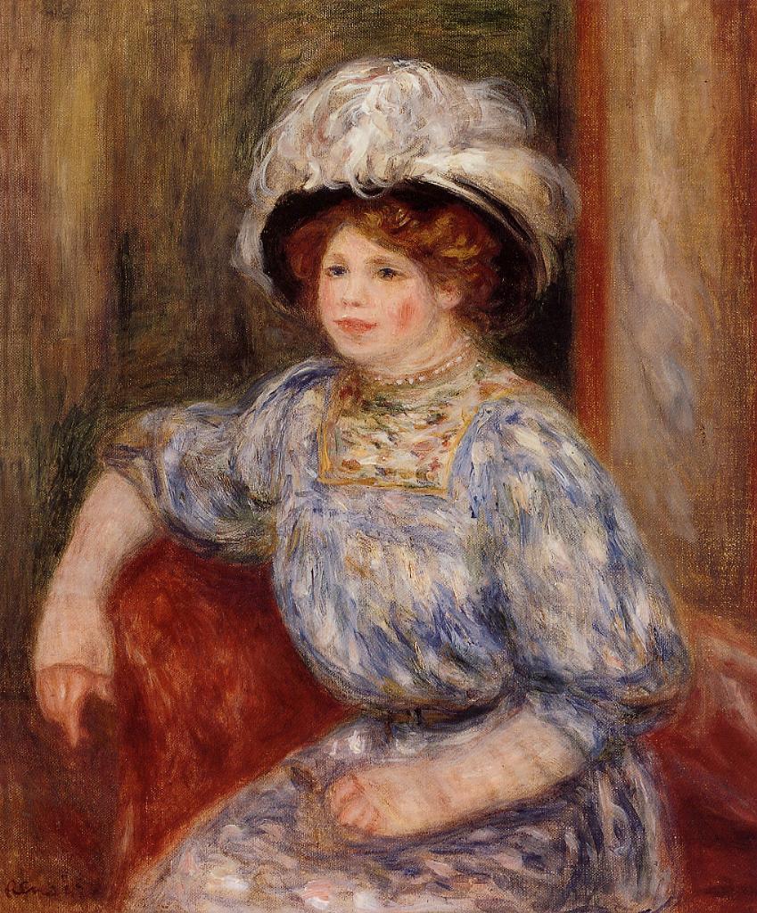 Woman in Blue 1906-1919 | Pierre Auguste Renoir | Oil Painting