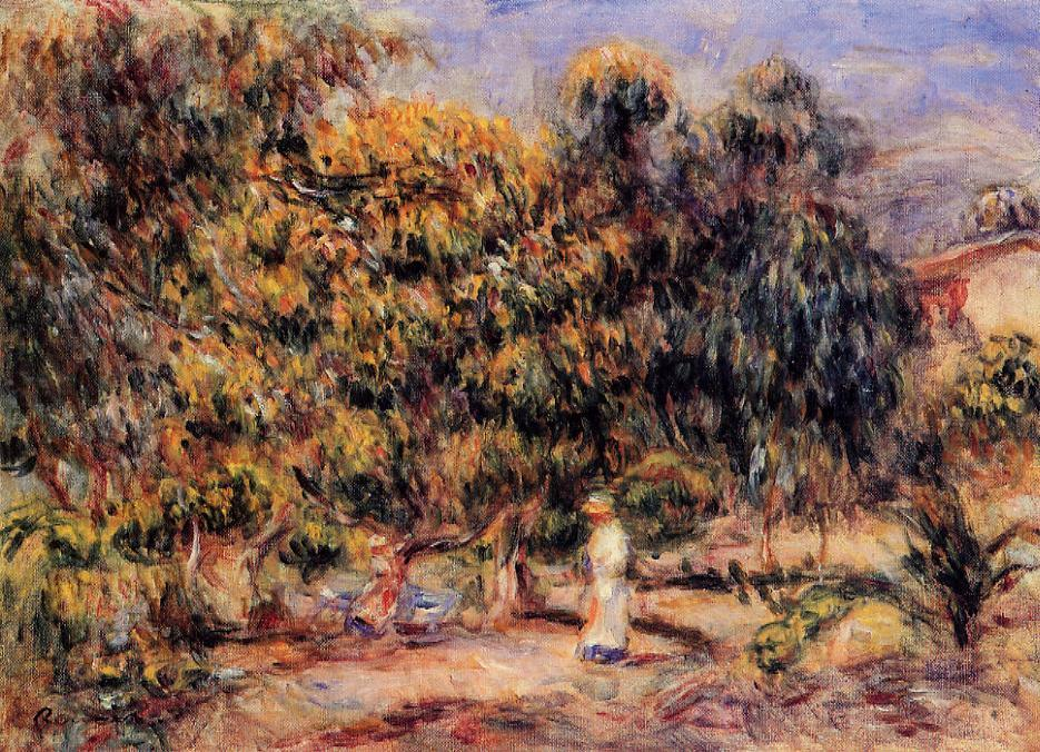 Woman in Wnite in the Garden at Colettes | Pierre Auguste Renoir | Oil Painting