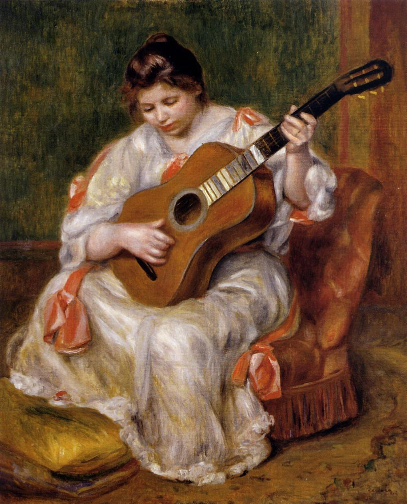 Woman Playing the Guitar 1896 | Pierre Auguste Renoir | Oil Painting