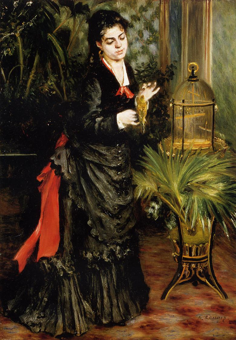 Woman with a Parrot (aka Henriette Darras) 1871 | Pierre Auguste Renoir | Oil Painting