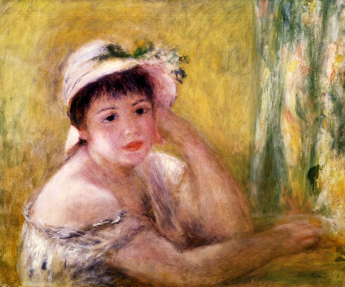 Woman with a Straw Hat 1880 | Pierre Auguste Renoir | Oil Painting