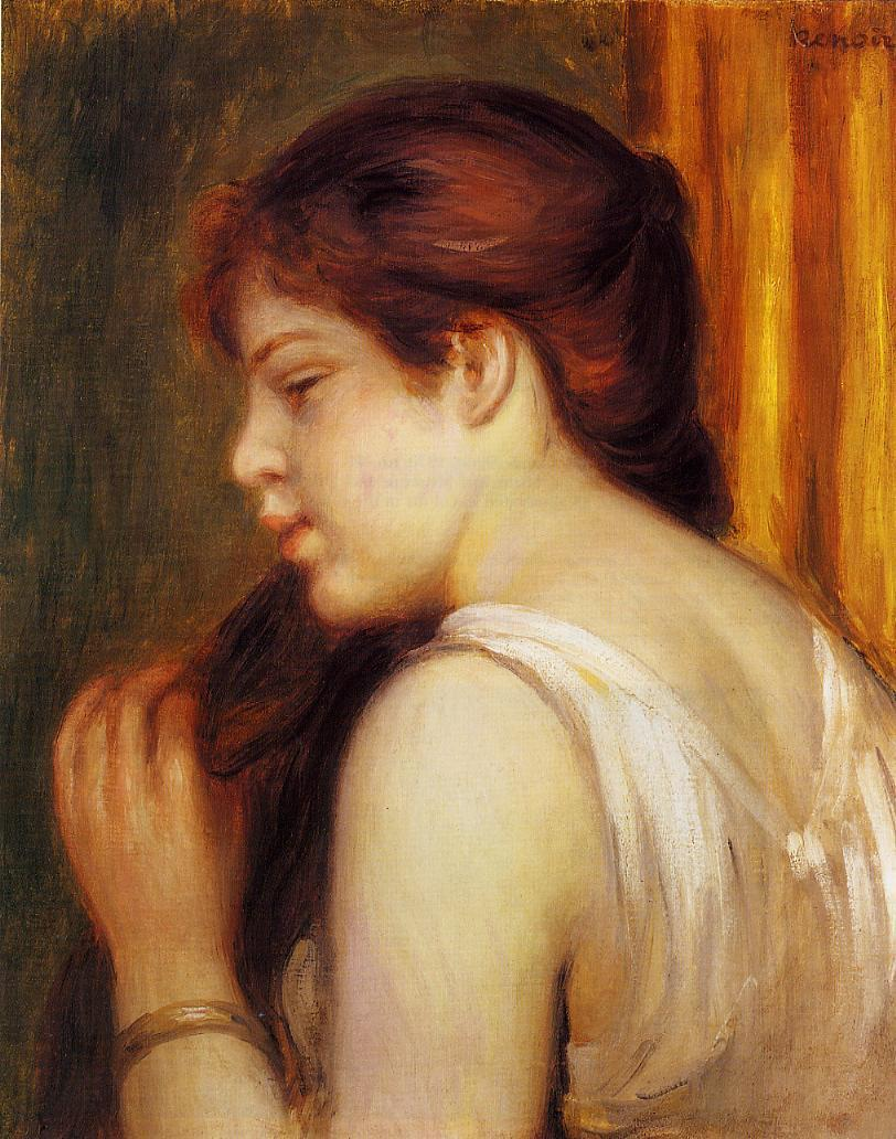 Young Girl Combing Her Hair 1891-1892 | Pierre Auguste Renoir | Oil Painting