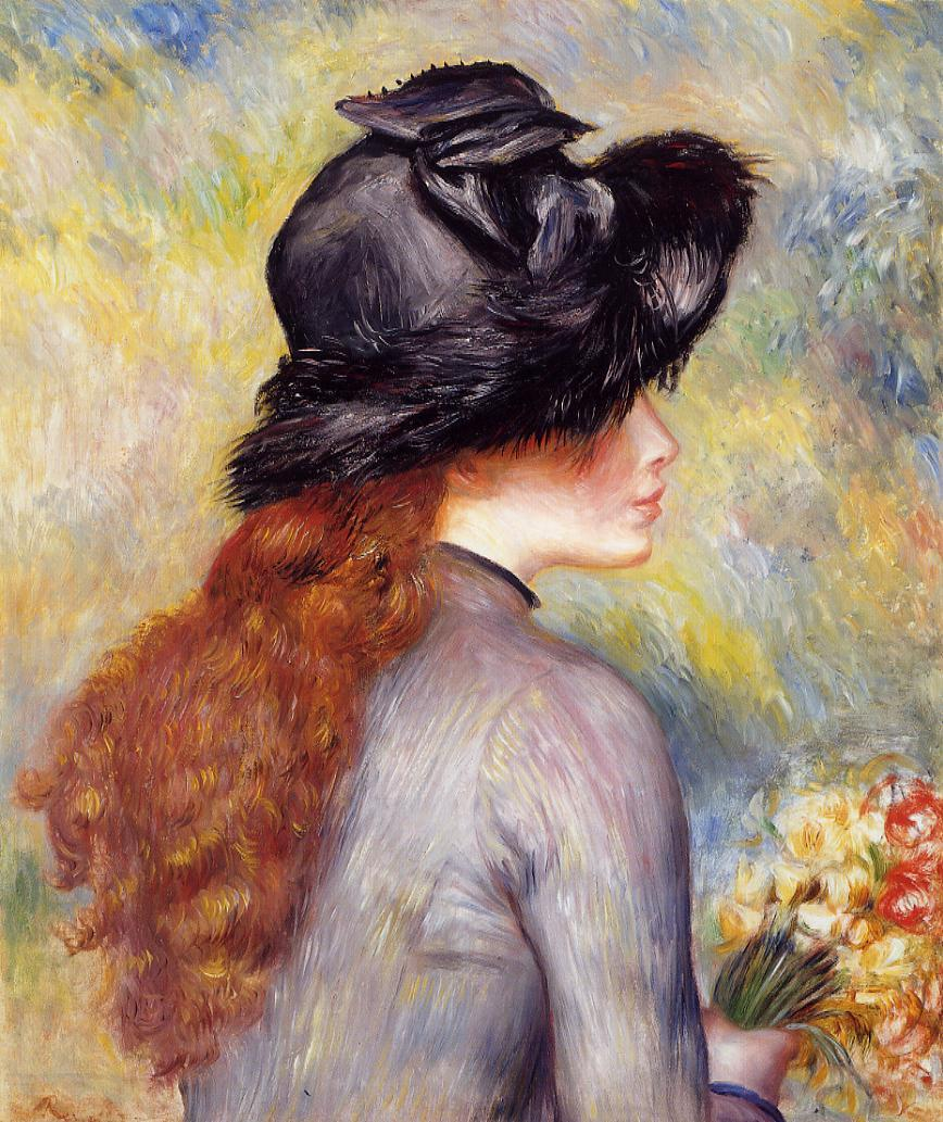 Young Girl Holding at Bouquet of Tulips 1878 | Pierre Auguste Renoir | Oil Painting