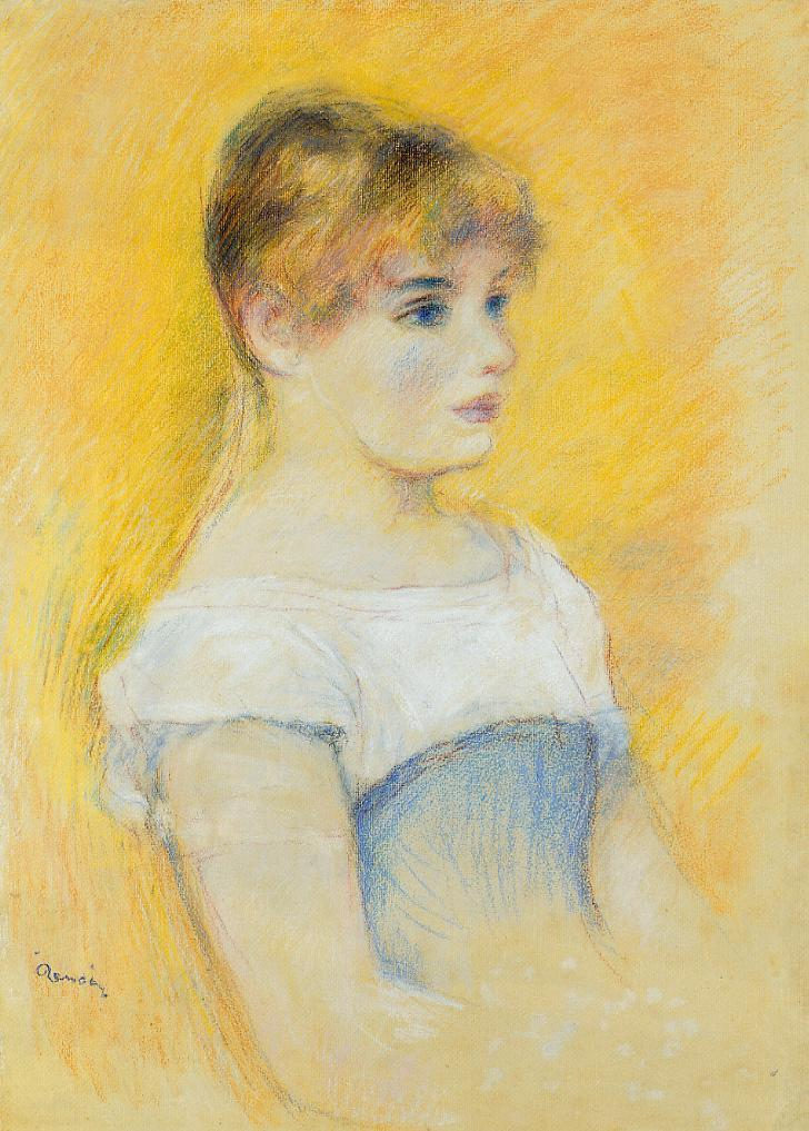 Young Girl in a Blue Corset | Pierre Auguste Renoir | Oil Painting