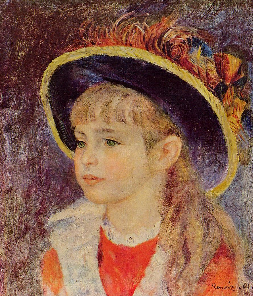Young Girl in a Blue Hat 1881 | Pierre Auguste Renoir | Oil Painting