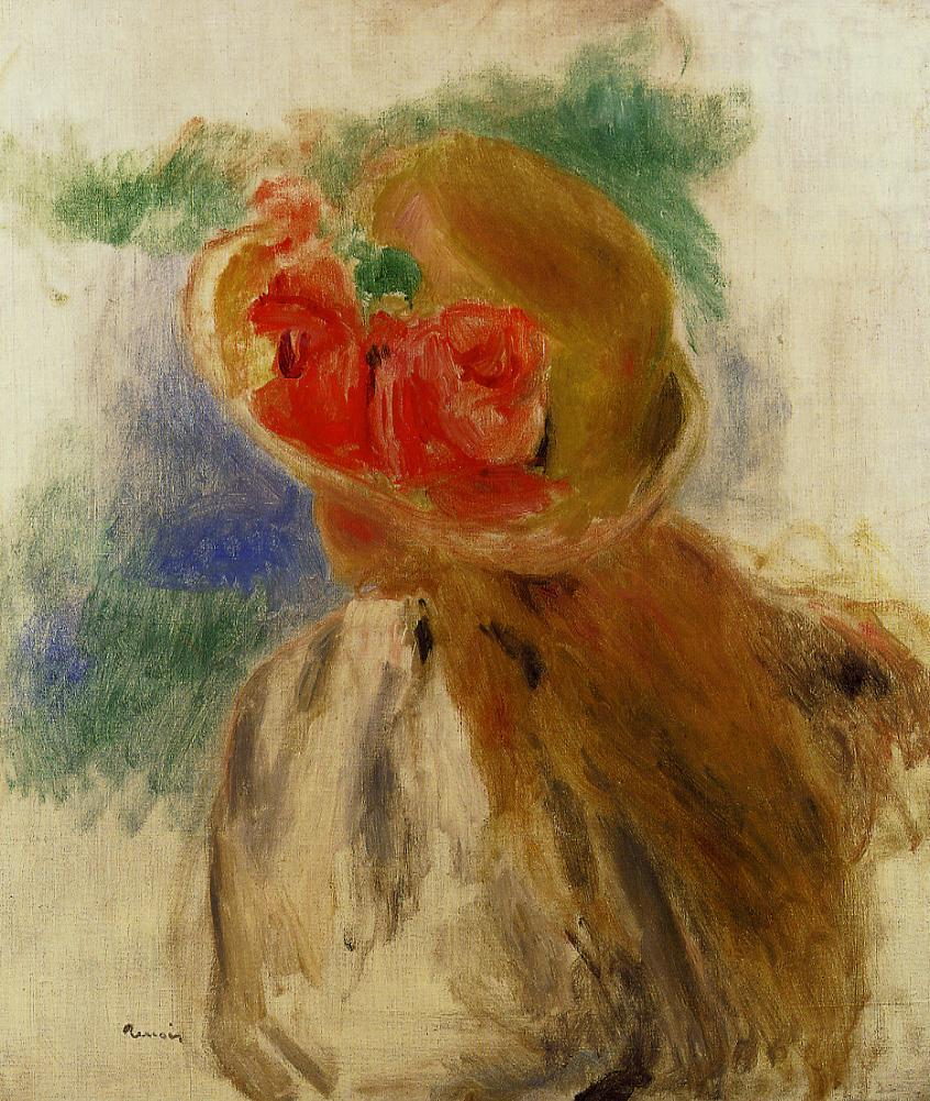 Young Girl in a Flowered Hat 1900-1905 | Pierre Auguste Renoir | Oil Painting