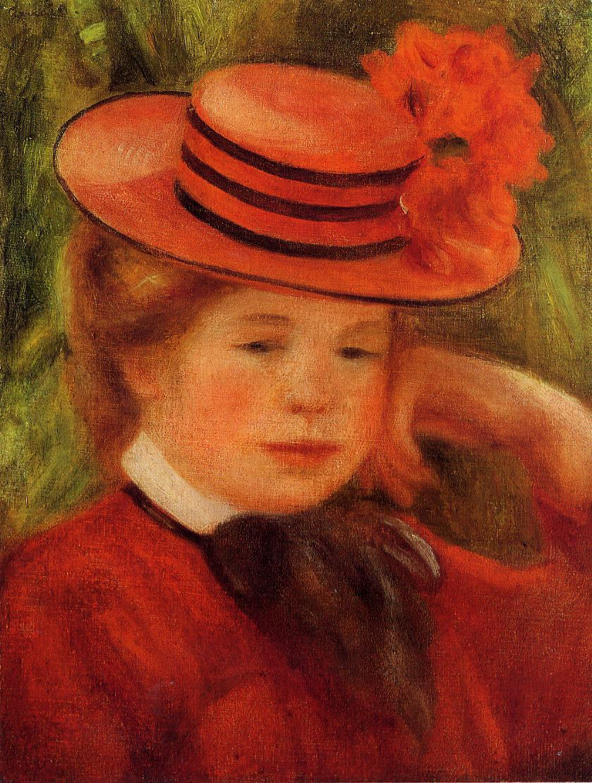 Young Girl in a Red Hat 1899 | Pierre Auguste Renoir | Oil Painting