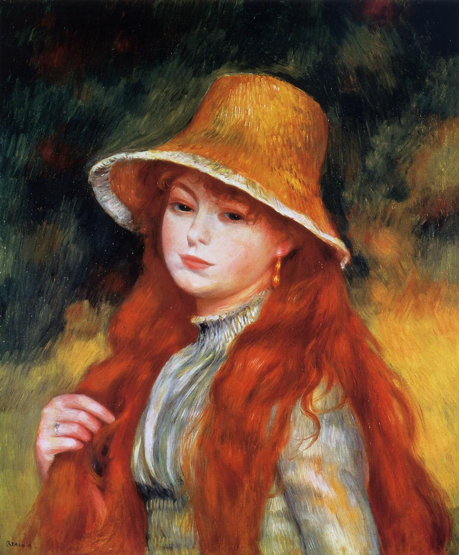 Young Girl in a Straw Hat 1884 | Pierre Auguste Renoir | Oil Painting