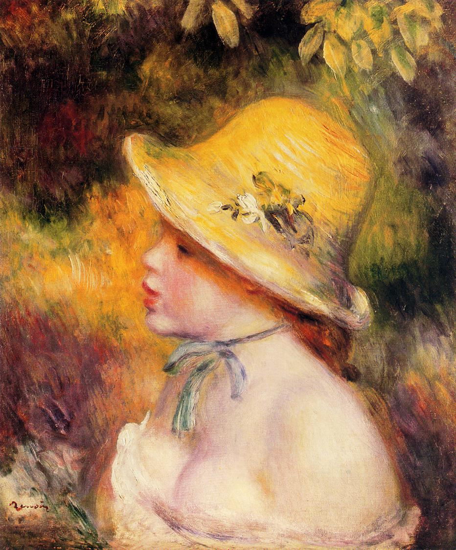 Young Girl in a Straw Hat 1890 | Pierre Auguste Renoir | Oil Painting