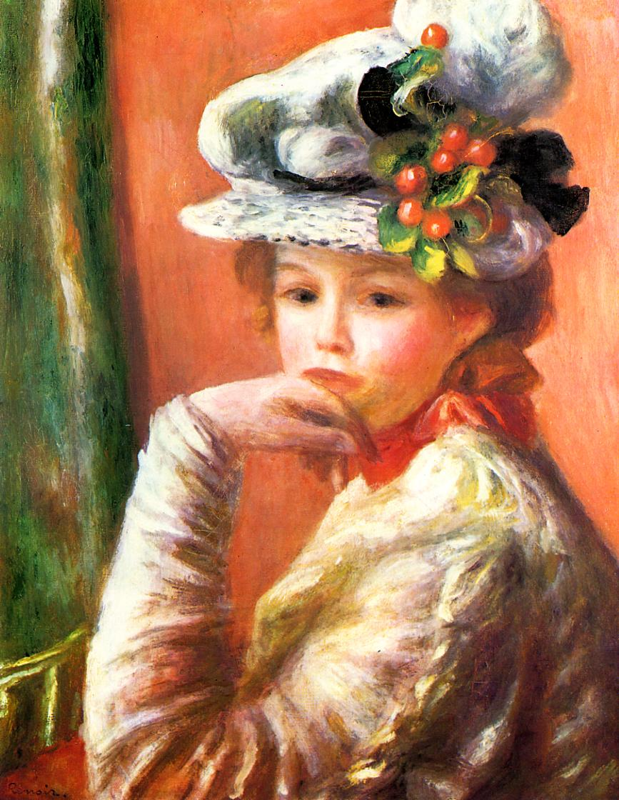 Young Girl in a White Hat (aka Woman Leaning on Her Hand) 1892 | Pierre Auguste Renoir | Oil Painting