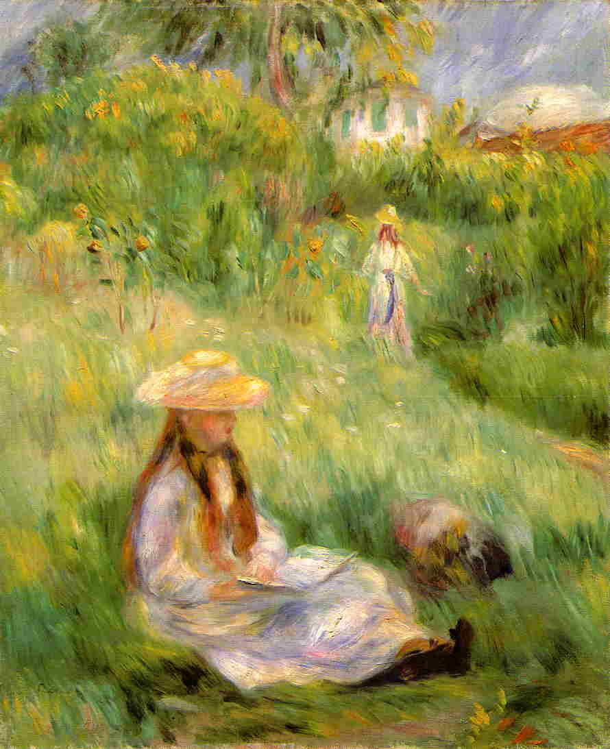 Young Girl in the Garden at Mezy 1891 | Pierre Auguste Renoir | Oil Painting