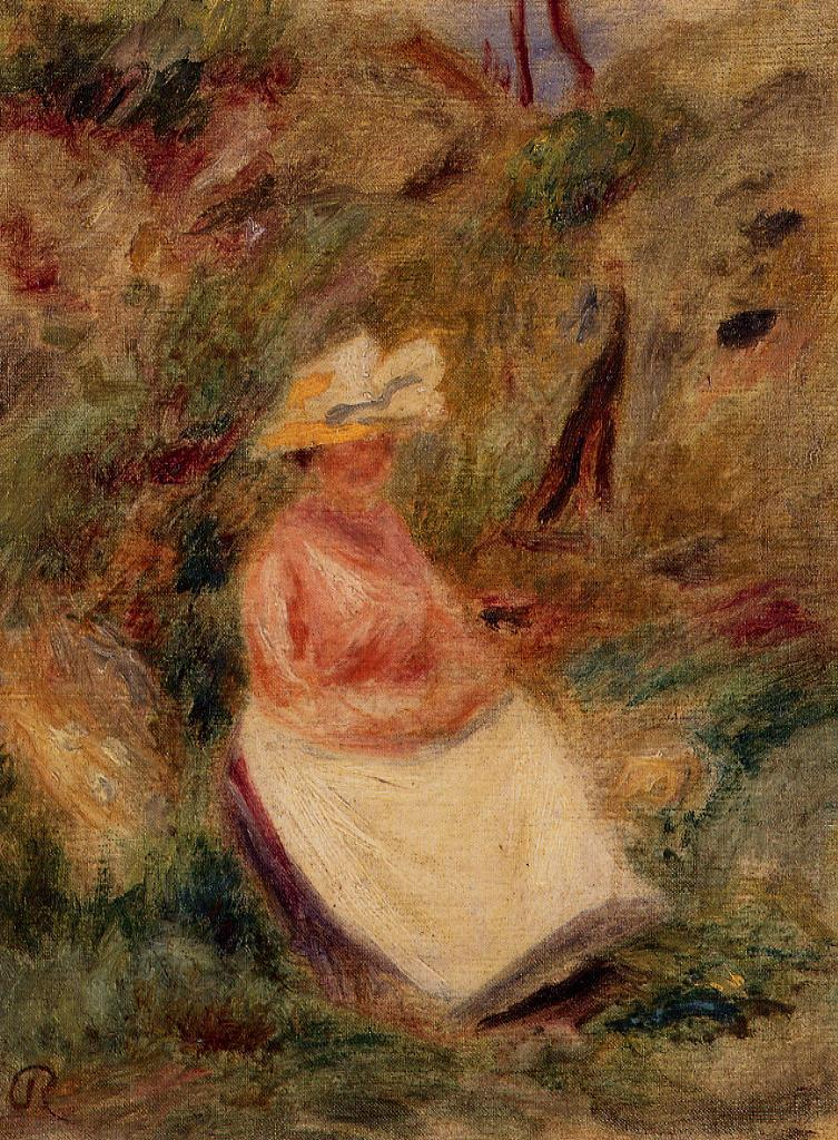 Young Girl in the Woods 1910 | Pierre Auguste Renoir | Oil Painting