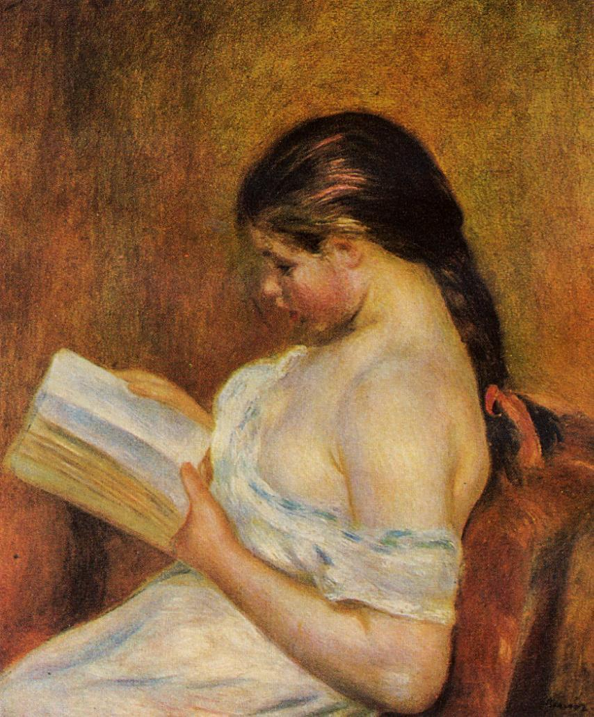 Young Girl Reading 1891-1895 | Pierre Auguste Renoir | Oil Painting