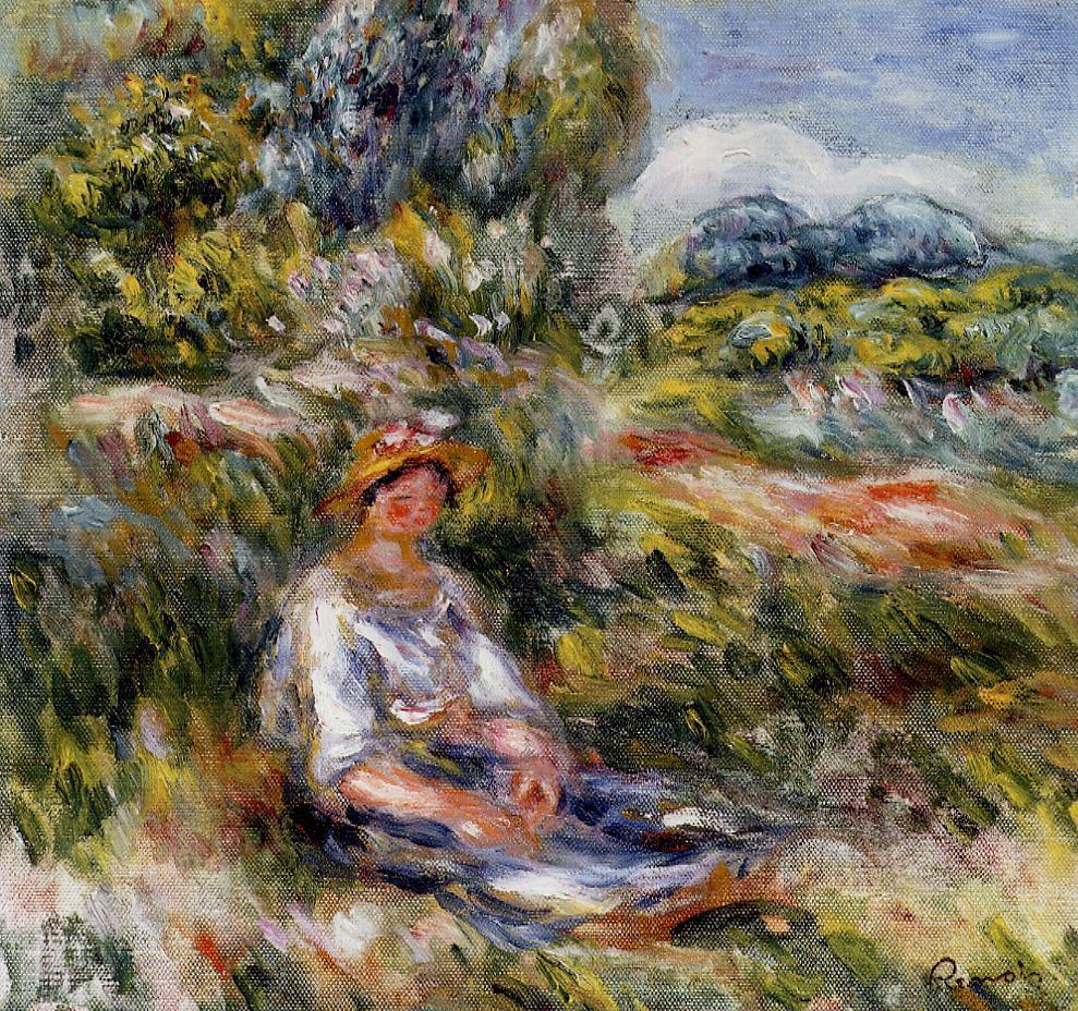 Young Girl Seated in a Meadow 1916 | Pierre Auguste Renoir | Oil Painting