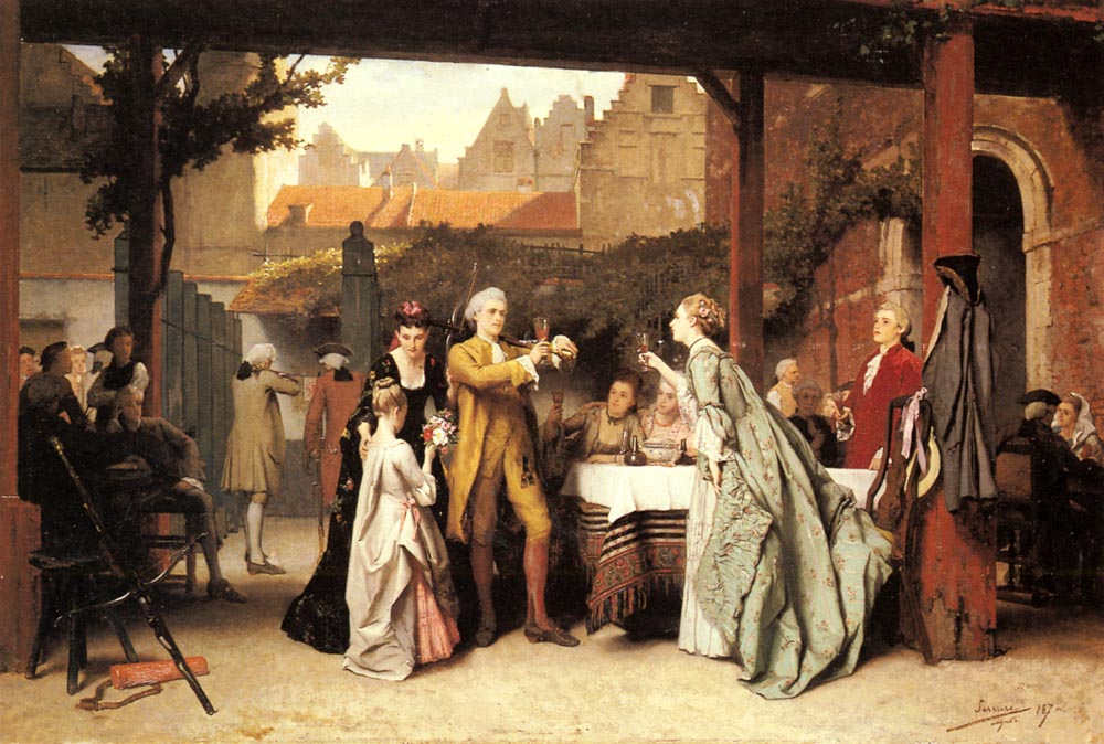 Toasting The Winner | Auguste Serrure | Oil Painting