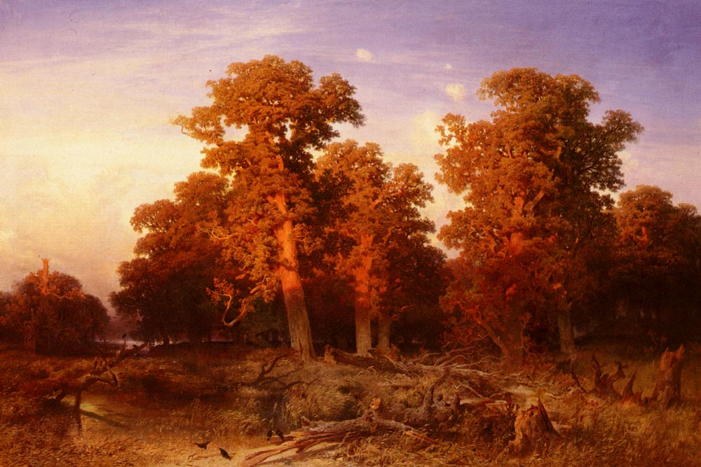 Sunset In A Hungarian Forest | August Schaeffer | Oil Painting