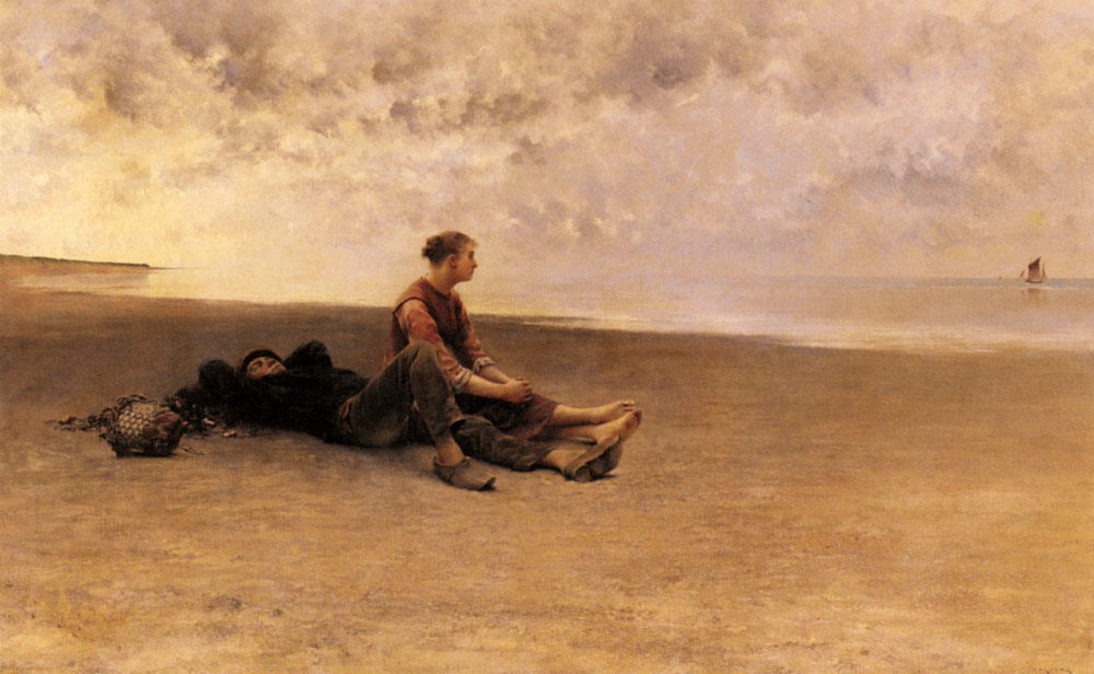 Daydreaming On The Beach | August Wilhelm Nikolaus Hagborg | Oil Painting