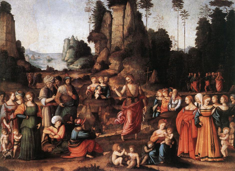 The Preaching Of Saint John The Baptist 1520   Bacchiacca   Oil Painting