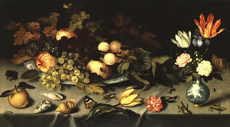 Flowers And Fruit 1620 | Balthasar Van Der Ast | Oil Painting
