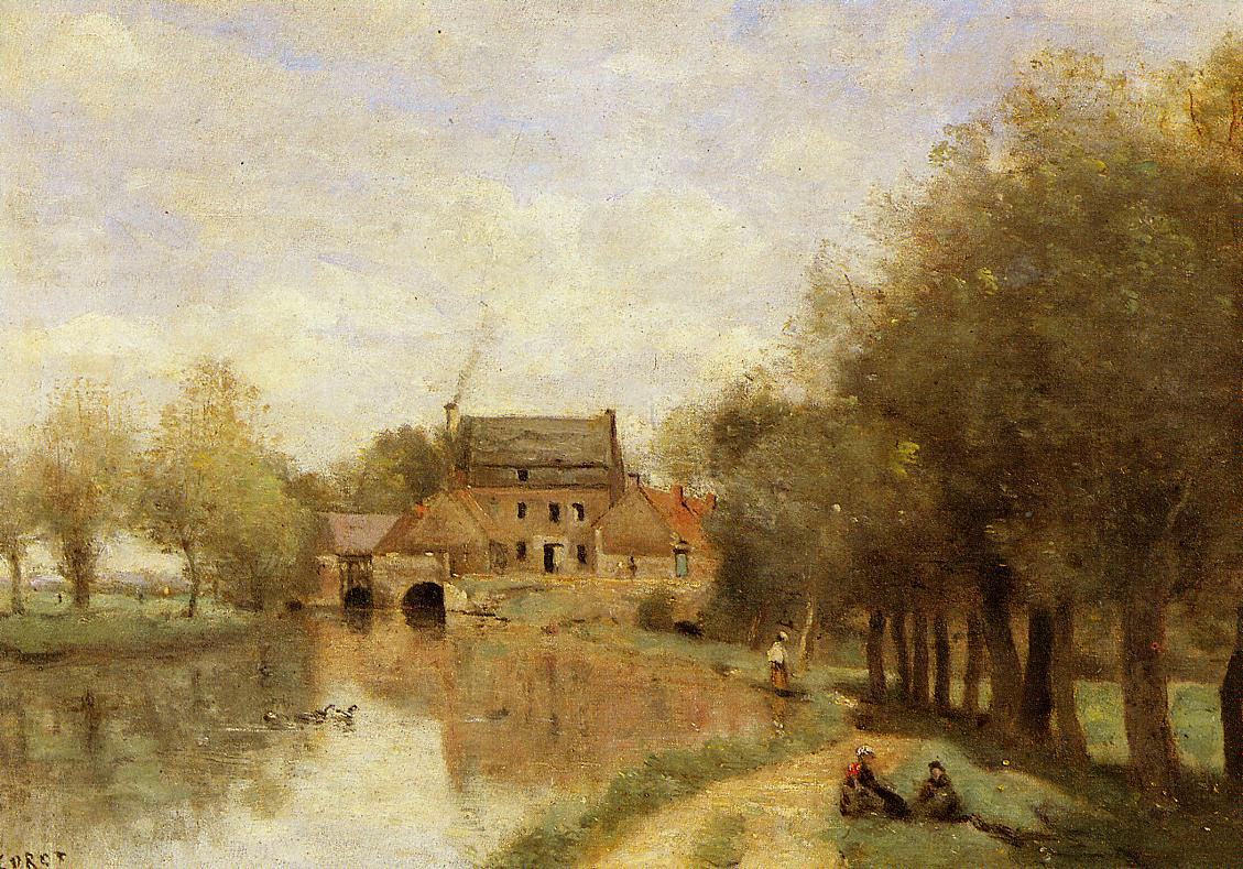 Arleux-du-Nord the Drocourt Mill on the Sensee 1871 | Jean Baptiste Corot | Oil Painting