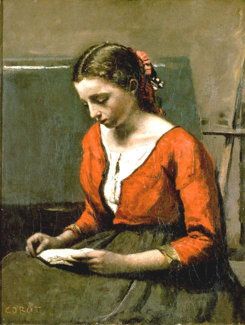 A Girl Reading 1845-1850 | Jean Baptiste Corot | Oil Painting