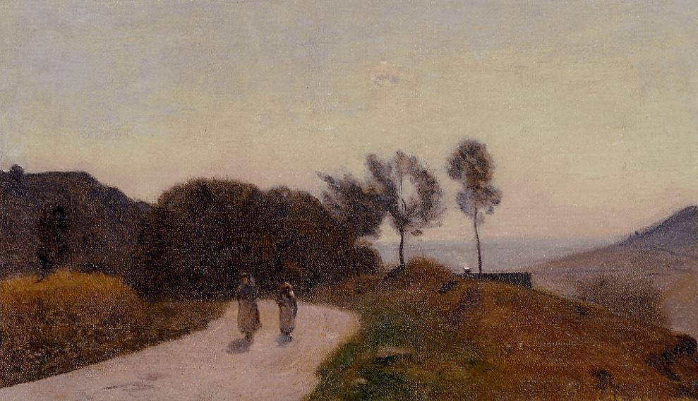 A Road in the Countryside Near Lake Leman 1845-1855 | Jean Baptiste Corot | Oil Painting