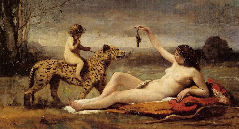Bacchante with a Panther 1860 | Jean Baptiste Corot | Oil Painting