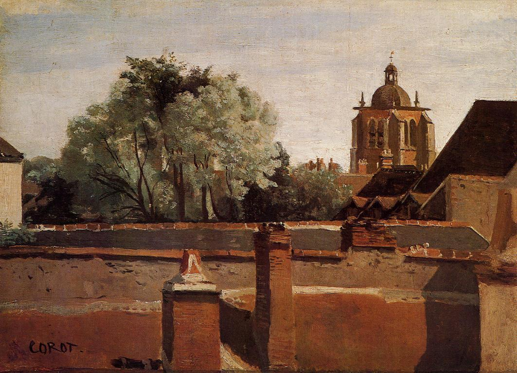 Bell Tower of the Church of Saint-Paterne at Orleans 1840-1845 | Jean Baptiste Corot | Oil Painting