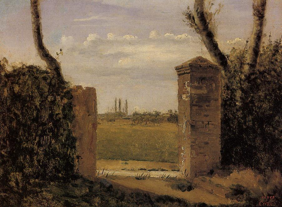 Boid-Guillaumi near Rouen - A Gate Flanked by Two Posts 1822   Jean Baptiste Corot   Oil Painting