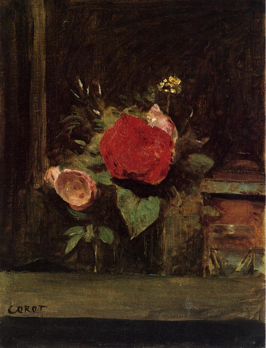 Bouquet of Flowers in a Vase next to a Pot of Tobacco 1873-1874 | Jean Baptiste Corot | Oil Painting