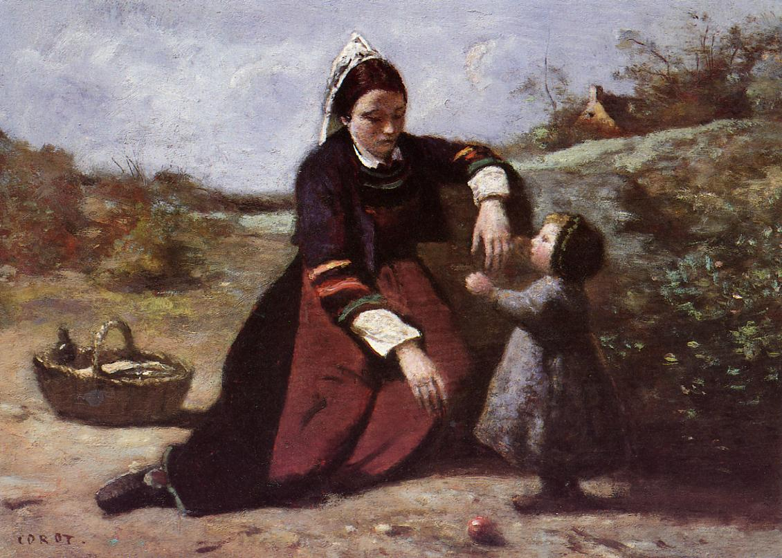 Breton Woman With Her Little Girl 1855-1860 | Jean Baptiste Corot | Oil Painting